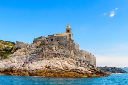Stone Church of St. Peter in Porto Venere, Italy. Porto Venere and the villages of Cinque Terre