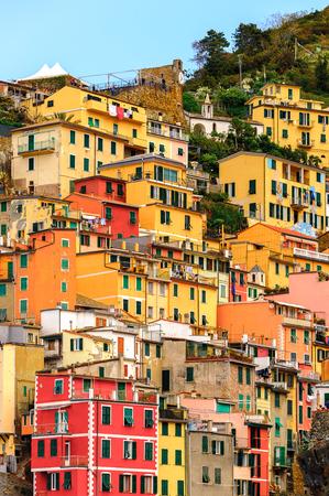 Architecture of Riomaggiore, a village in province of La Spezia, Liguria, Italy. Stock Photo