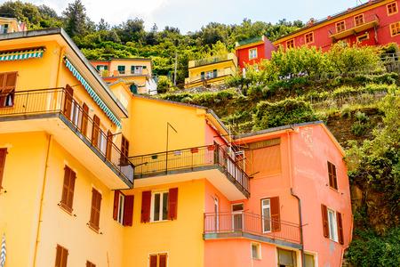 Architecture of Manarola (Manaea), La Spezia, Liguria, Italy.