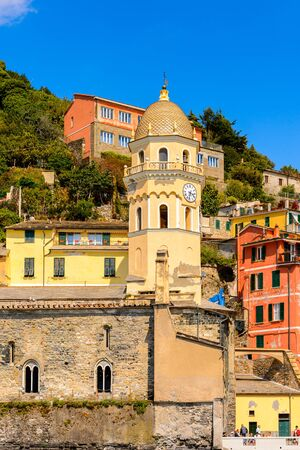 Architecture of Vernazza (Vulnetia), a small town in province of La Spezia, Liguria, Italy. Its one of the lands of Cinque Terre Stock Photo