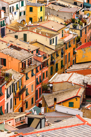 Aerial view of the houses in Vernazza (Vulnetia), a small town in province of La Spezia, Liguria, Italy. Stock Photo