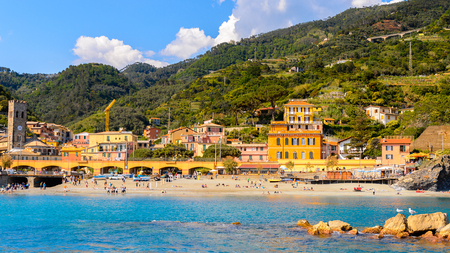 Panorama of Monterosso al Mare, a small town in province of La Spezia, Liguria, Italy. Its one of the lands of Cinque Terre