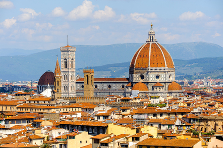 Cathedral of Santa Maria del Fiore in Tuscany, Florence, Italy. View from the Michelangelo Square Foto de archivo