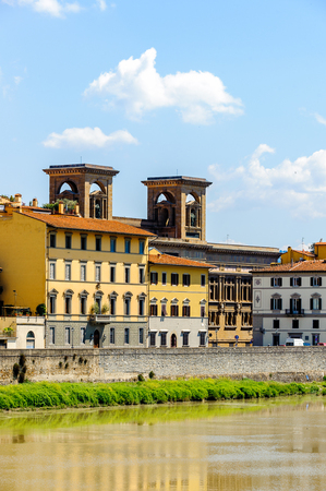 Coast of the River Arno at the Historic Centre of Florence, Italy.  UNESCO World Heriage.