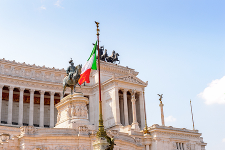The Altare della Patria or Il Vittoriano , a monument built in honour of Victor Emmanuel, the first king of a unified Italy, Rome. Stock Photo