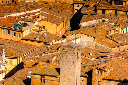 Aerial view over Historic centre of Siena.