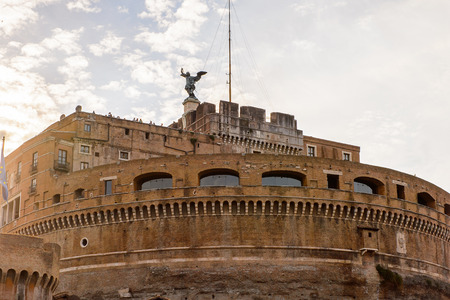 Castle of Saint Angelo in the Historic Center of Rome, Italy. Rome is the capital of Italy and a popular touristic destination