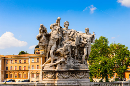 Angels Bridge in the Historic Center of Rome, Italy. Rome is the capital of Italy and a popular touristic destination
