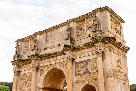Arch of Konstantin Colosseum or Coliseum in the evening, Rome, Italy. One of the main touristic destinations in Rome Stock Photo