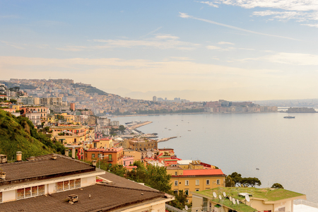 Panoramic view of Naples, Italy.