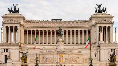 Evening view of The Altare della Patria or Il Vittoriano , a monument built in honour of Victor Emmanuel, the first king of a unified Italy, Rome.