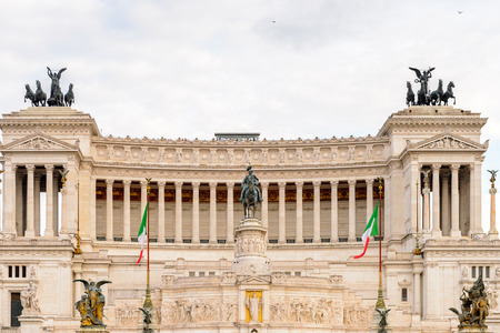 Evening view of The Altare della Patria or Il Vittoriano , a monument built in honour of Victor Emmanuel, the first king of a unified Italy, Rome. 版權商用圖片 - 91747246