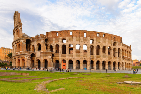Panoramic view of Colosseum or Coliseum in the evening, Rome, Italy. One of the main touristic destinations in Rome