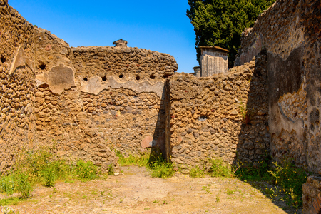 Destroyed architecture of Pompeii, an ancient Roman town destroyed by the volcano Vesuvius.