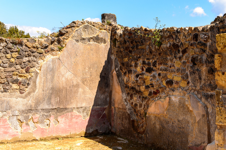 Street of Pompeii, an ancient Roman town destroyed by the volcano Vesuvius. Stock Photo
