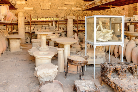 Dishes and other things in Pompeii, an ancient Roman town destroyed by the volcano Vesuvius.