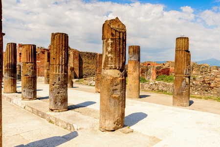 RUins of Pompeii, an ancient Roman town destroyed by the volcano Vesuvius.