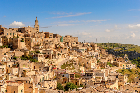 Panorama of Matera, Puglia, Italy. The Sassi and the Park of the Rupestrian Churches of Matera