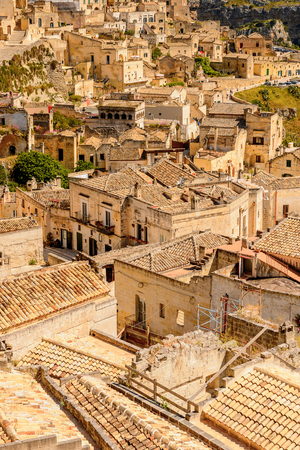 Panorama of Matera, Puglia, Italy. The Sassi and the Park of the Rupestrian Churches of Matera. UNESCO World Heritage site Editorial