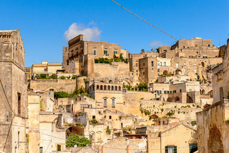 Houses in Matera, Puglia, Italy. The Sassi and the Park of the Rupestrian Churches of Matera. UNESCO World Heritage site