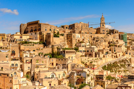 Houses in Matera, Puglia, Italy. The Sassi and the Park of the Rupestrian Churches of Matera. Stock Photo