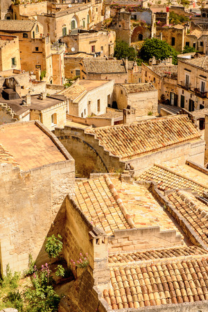 Panorama of Matera, Puglia, Italy. The Sassi and the Park of the Rupestrian Churches of Matera.
