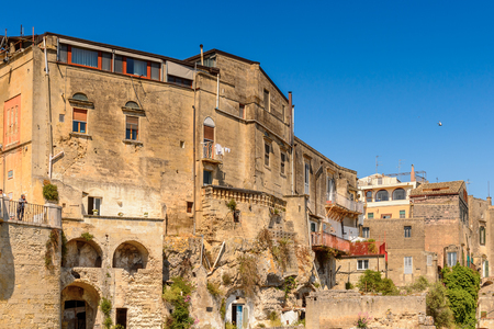 Houses in Matera, Puglia, Italy. The Sassi and the Park of the Rupestrian Churches of Matera