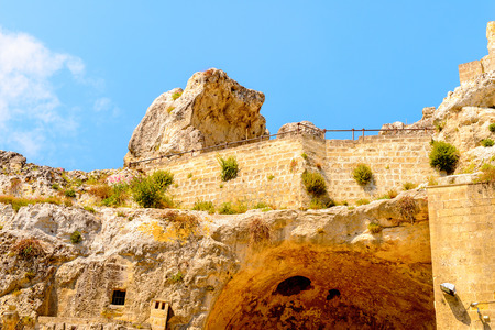 Stone architecture of Matera, Puglia, Italy. The Sassi and the Park of the Rupestrian Churches of Matera.