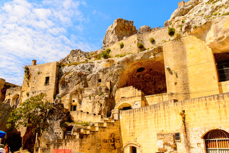Stone architecture of Matera, Puglia, Italy. The Sassi and the Park of the Rupestrian Churches of Matera. UNESCO World Heritage site