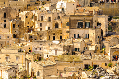 Architecture of Matera, Puglia, Italy. The Sassi and the Park of the Rupestrian Churches of Matera.