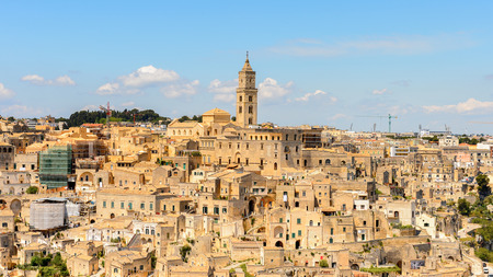 Panoramic view of Matera, Puglia, Italy. The Sassi and the Park of the Rupestrian Churches of Matera.