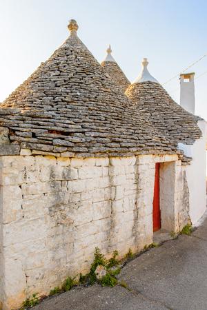 Typical trulli houses of Alberobello, a small town in Apulia, Italy. The Trulli of Alberobello