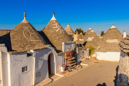 Typical trulli houses of Alberobello, a small town in Apulia, Italy. The Trulli of Alberobello have are a UNESCO World Heritage site since 1996 Editorial