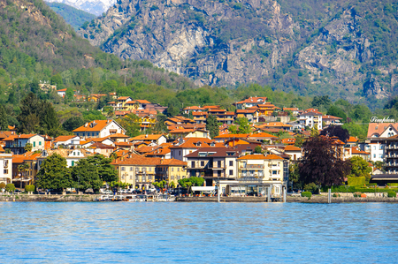 Town on the coast of the Lago Maggiore (Big Lake), Piedmont, Italy