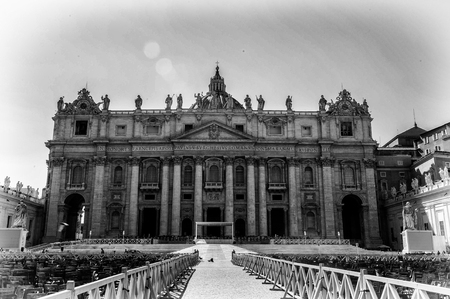 St. Peters Basilica in black and white, a Late Renaissance church located within Vatican City.