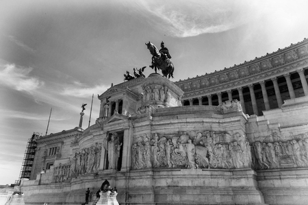Part of the Altar of the Fatherland built in honour of Victor Emmanuel in black and white, the first king of a unified Italy, located in Rome, Italy