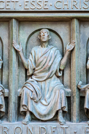 Sculpture on the main door of the Milan Cathedral (Duomo di Milano),  the largest cathedral in Italy