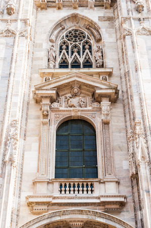 Close view of the Milan Cathedral (Duomo di Milano),  the largest cathedral in Italy 版權商用圖片