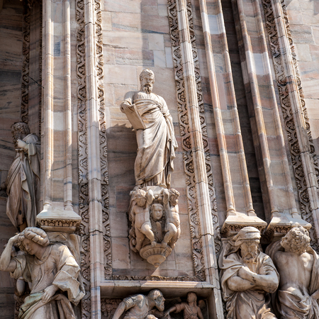 Sculptures on the Milan Cathedral (Duomo di Milano),  the largest cathedral in Italy