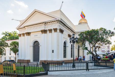 CARACAS, VENEZUELA - NOV 20, 2013:Palacio de las Academias (Palace of the Academies), a Neo-Gothic building on the Avenida Universidad in the centre of Caracas, Venezuela.