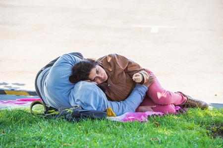 VINA DEL MAR, CHILE - NOV 9, 2014: Unidentified Chilean couple in Vina del Mar. Chilean people are of mixed Spanish and Amerindian descent Editorial