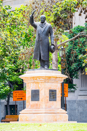 SANTIAGO, CHILE - NOV 1, 2014: Monument to Jorge Alessandri Rodriguez in Santiago. Santiago de Chile is the capital and the largest city in Chile