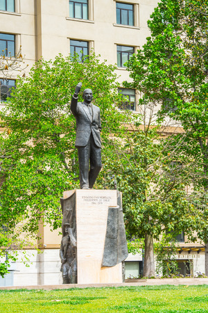 SANTIAGO, CHILE - NOV 1, 2014: Monument to Eduardo Frei Montalva in Santiago. Santiago de Chile is the capital and the largest city in Chile