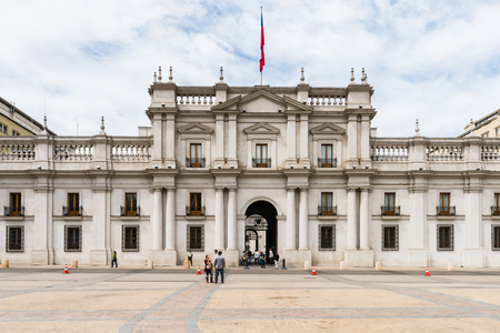 SANTIAGO, CHILE - NOV 1, 2014: La Moneda (The Treasury) in Santiago de Chile. Santiago de Chile is the capital and the largest city in Chile