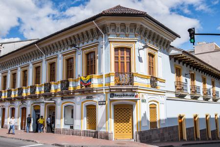 QUITO, ECUADOR - JAN 1, 2015: Architecture of the historic center of Quito. Historic center of Quito is the first UNESCO WOrld Heritage site