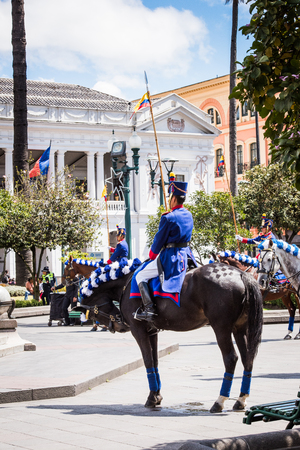 QUITO, ECUADOR - JAN 5, 2015: Unidentified Ecuadorian hussar on a horse during a parade in Quito 71,9% of Ecuadorian people belong to the Mestizo ethnic group