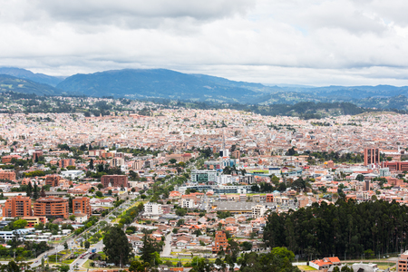 CUENCA, ECUADOR - JAN 9, 2015: Panoramic view of  Cuenca, Ecuador. Cuenca is the capital the Azuay Province and its center is a Unesco World Heritage Editorial