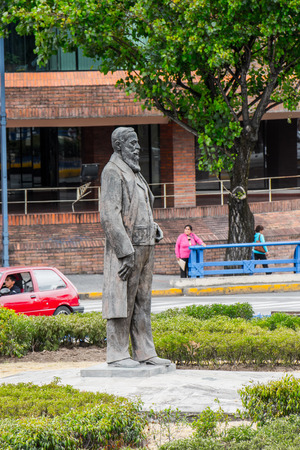 CUENCA, ECUADOR - JAN 9, 2015: Statue in Cuenca. Cuenca is the capital the Azuay Province and its center is a Unesco World Heritage