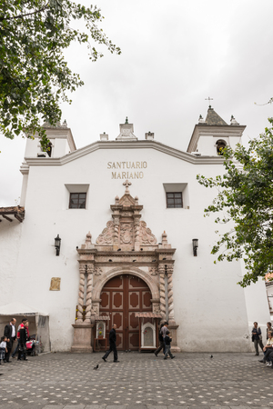 CUENCA, ECUADOR - JAN 9, 2015: Architecture of Cuenca. Cuenca is the capital the Azuay Province and its center is a Unesco World Heritage