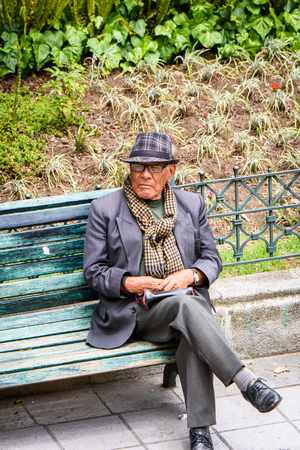 CUENCA, ECUADOR - JAN 9, 2015: Unidentified Ecuadorian man in the street. 71,9% of Ecuadorian people belong to the Mestizo ethnic group Editorial